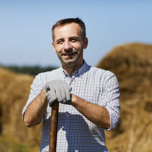 Farmer Working with Gloves on